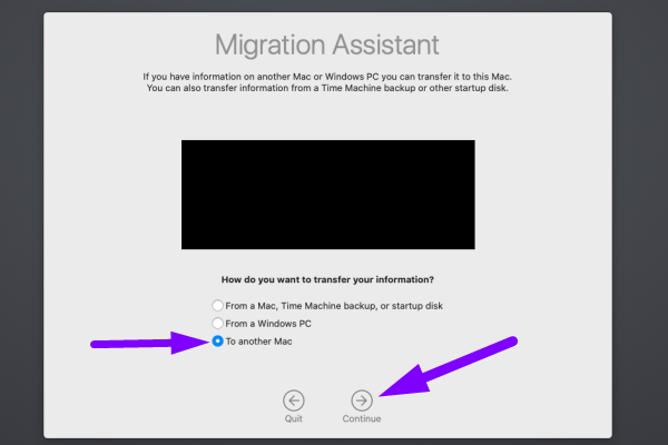 Data migration for Mac - choose to Another Mac option