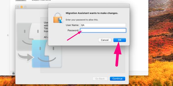 Data migration assistant - enter password