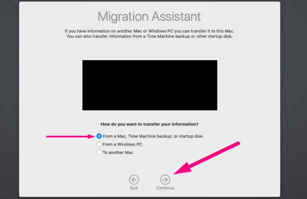Data migration for Mac - select from Mac
