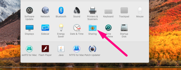 Data migration for Mac - select Sharing folder