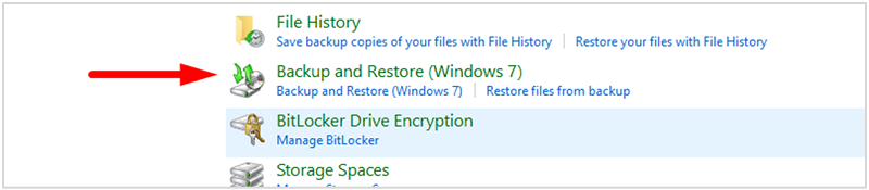 Restore Windows 10 - choose Backup and Restore (Windows 7) option, which work for Windows 10 as well