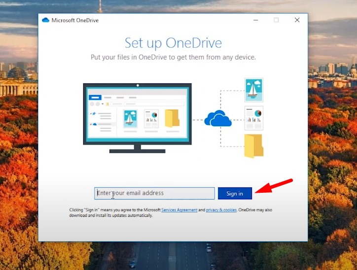 Back up Windows to OneDrive - sign in to your OneDrive profile