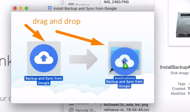 Backup Mac to Google Drive - move Backup and Sync to your Applications folder