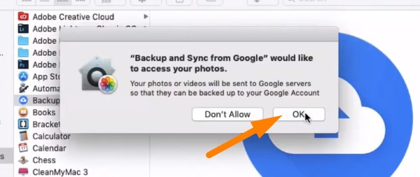 Backup Mac to Google Drive - press OK