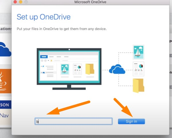 Back up Mac to OneDrive - sign in with your Microsoft credentials