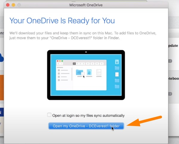Back up Mac to OneDrive - enter your new OneDrive folder
