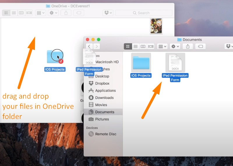 Back up Mac to OneDrive - drag and drop any files to back them up