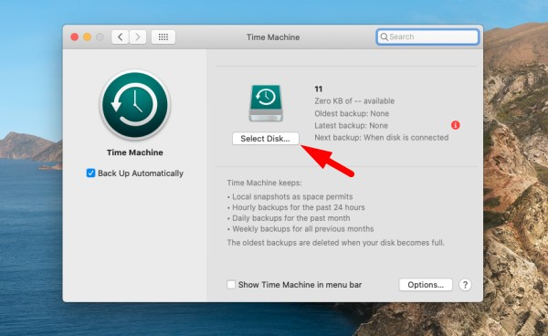 Backup Mac with time Machine - select Disk