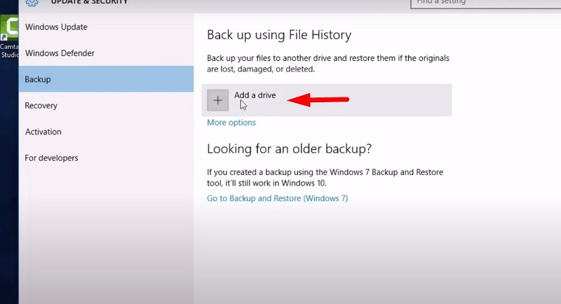 Backup Windows 10 to an external HDD or SDD - hit Add a drive