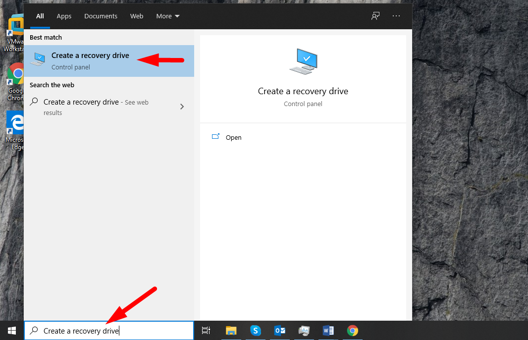 Backup Windows 10 to USB - type for Create a recovery drive