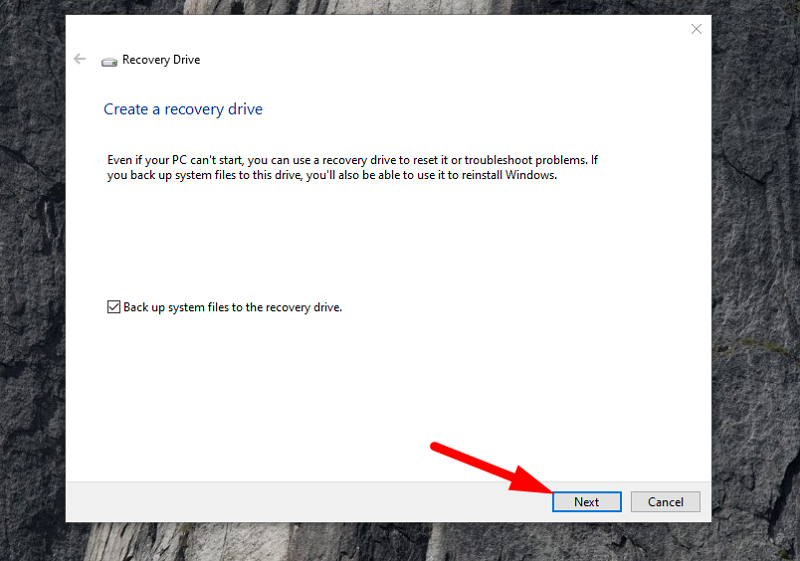 Backup Windows 10 to USB - tick Back up system files to the recovery drive