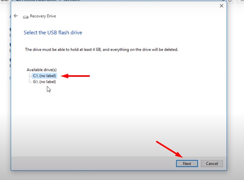 Backup Windows 10 to USB - choose your USB drive