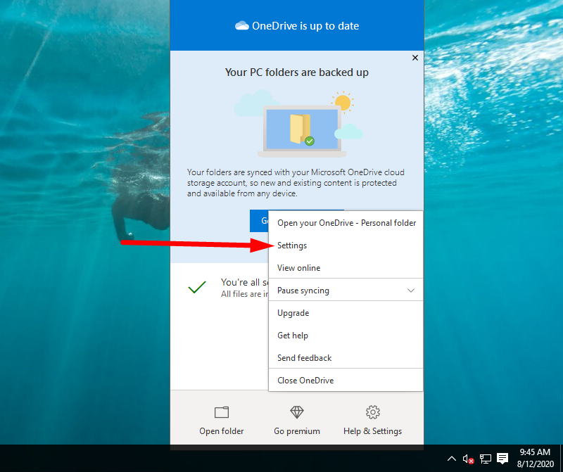 Back up Windows to OneDrive - choose Settings option