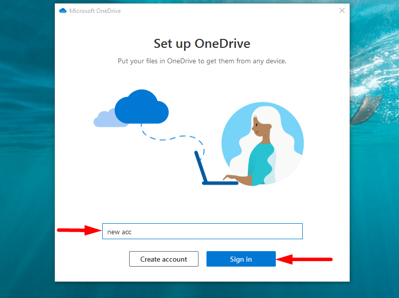 Back up Windows to OneDrive - sign in