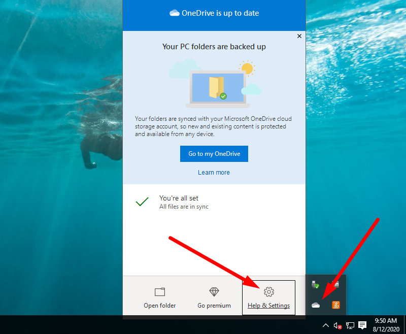 Back up Windows to OneDrive - click on the icon on the Windows menu bar