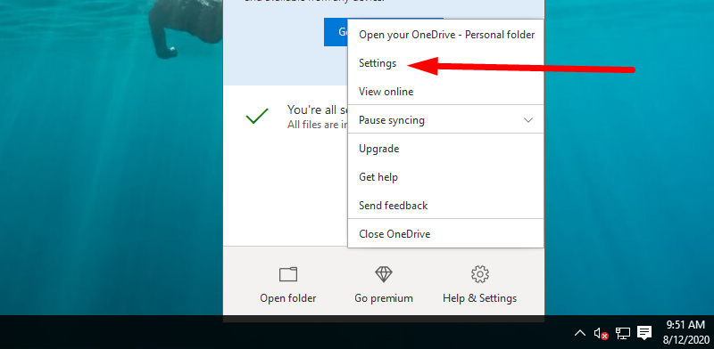 Back up Windows to OneDrive - choose Settings