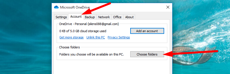 Back up Windows to OneDrive - go to Account and choose Folders