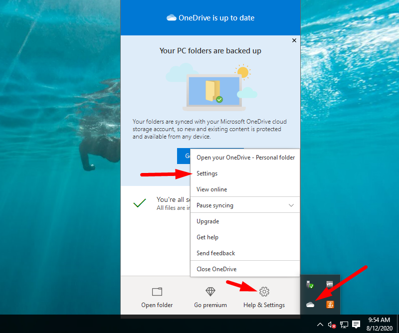 Back up Windows to OneDrive - got to Settings again