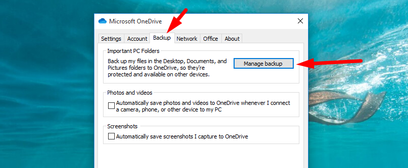 Back up Windows to OneDrive - find Manage backup option
