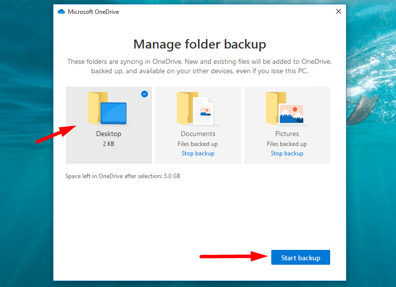 Back up Windows to OneDrive - Start your backup