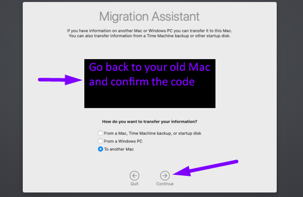 Data migration for Mac - confirm the code on your old Mac