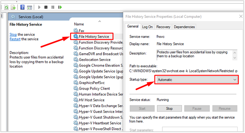 Set File History Service and Windows Search to automatic