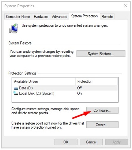 Select a drive and click on Configure