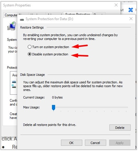 In the Restore settings, choose Disable system protection and click Apply