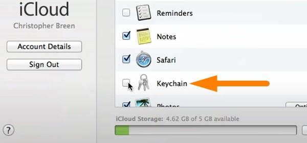 Backup keychain in iCloud - select keychain